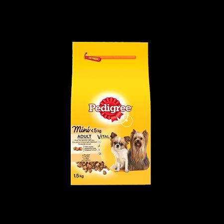 PEDIGREE<sup>®</sup> croquettes spéciales mini chien <5kg au poulet 1,5kg