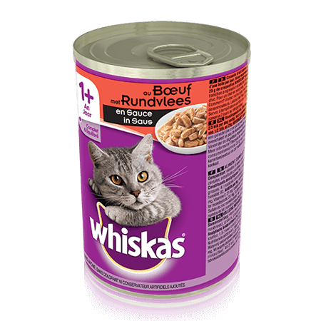 WHISKAS  Can met Rundvlees in Saus 400g