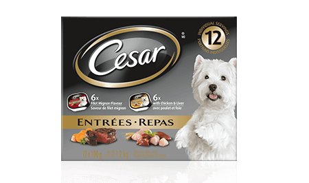 CESAR® ENTRÉES: 6 FILET MIGNON FLAVOUR & 6 WITH CHICKEN AND LIVER 12x100g