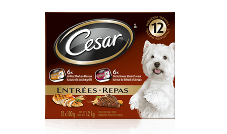 CESAR® ENTRÉES: 6 GRILLED CHICKEN FLAVOUR & 6 PORTERHOUSE STEAK FLAVOUR 12x100g