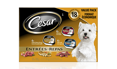 CESAR® ENTRÉES: 6 WITH BEEF, 6 WITH GRILLED CHICKEN + 6 WITH LAMB 18x100g