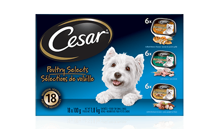 CESAR® ENTRÉES: 6 WITH BEEF, 6 WITH GRILLED CHICKEN, 6 WITH TURKEY + 6 WITH CHICKEN LIVER 18x100g