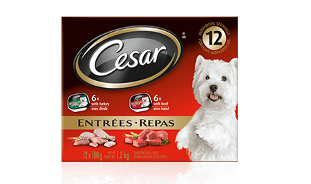 CESAR® ENTRÉES: 6 WITH BEEF + 6 WITH TURKEY 12x100g