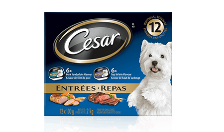 CESAR® ENTRÉES: 6 WITH PORK TENDERLOIN + 6 WITH TOP SIRLOIN 12x100g