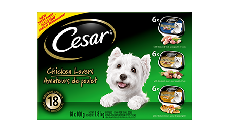 CESAR® ENTRÉES: CHICKEN LOVERS 6 WITH GRILLED CHICKEN, 6 CHICKEN VEAL & 6 CHICKEN LIVER 18x100g