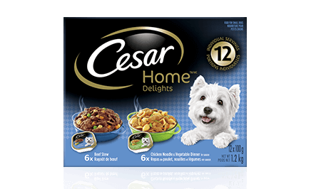 CESAR® HOME DELIGHTS® 6 BEEF STEW AND 6 CHICKEN, NOODLE & VEGETABLE 12x100g