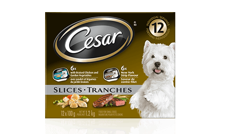 CESAR® SLICES: 6 WITH BRAISED CHICKEN & GARDEN VEGETABLES + 6 NEW YORK STRIP FLAVOUR 12x100g