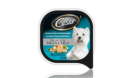 CESAR® SLICES: WITH BRAISED CHICKEN AND GARDEN VEGETABLES 100g