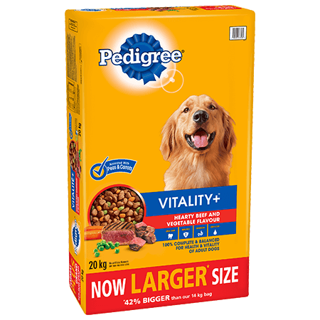 PEDIGREE VITALITY+™ Hearty Beef and Vegetable Flavour 20kg