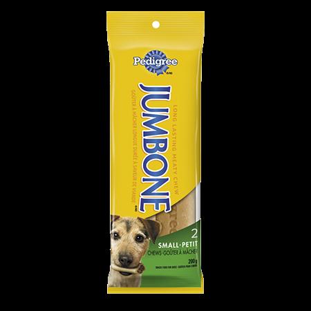 Goûter à mâcher longue durée PEDIGREE<sup>MD</sup> JUMBONE<sup>MD</sup> pour petits chiens et chiens moyens en emballage de 2