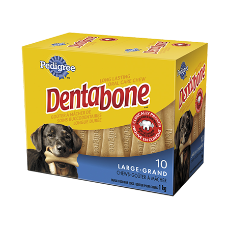 Goûter de soins buccodentaires à mâcher longue durée PEDIGREE<sup>MD</sup> DENTABONE<sup>MD</sup>  pour grands chiens adultes en emballage de 10
