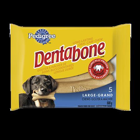 Goûter de soins buccodentaires à mâcher longue durée PEDIGREE<sup>MD</sup> DENTABONE<sup>MD</sup>  pour grands chiens adultes en emballage de 5