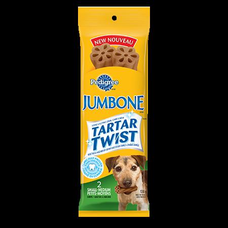 Goûter PEDIGREE<sup>MD</sup> JUMBONE<sup>MD</sup> TARTAR TWIST<sup>MC</sup> pour petits chiens et chiens moyens en emballage de 2