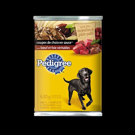 Nourriture humide pour chiens PEDIGREE<sup>MD</sup> COUPES DE CHOIX EN  SAUCE<sup>MD</sup> avec bœuf et foie véritables