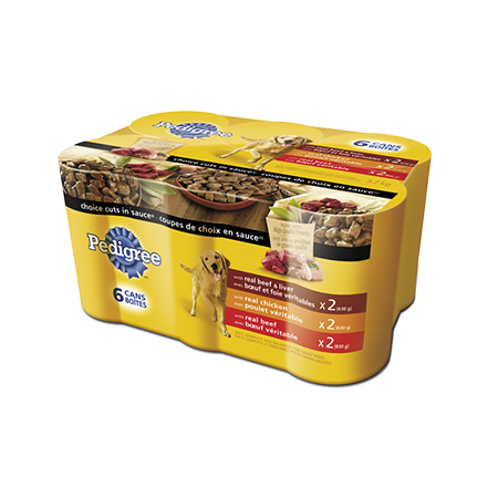 Nourriture humide pour chiens PEDIGREE<sup>MD</sup> COUPES DE CHOIX EN  SAUCE<sup>MD</sup> format variété