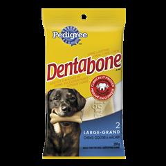 Goûter de soins buccodentaires à mâcher longue durée PEDIGREE<sup>MD</sup> DENTABONE<sup>MD</sup>  pour grands chiens adultes en emballage de 2