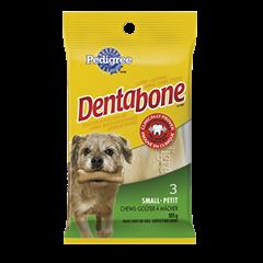 Goûter de soins buccodentaires à mâcher longue durée PEDIGREE<sup>MD</sup> DENTABONE<sup>MD</sup>  pour petits chiens adultes en emballage de 3