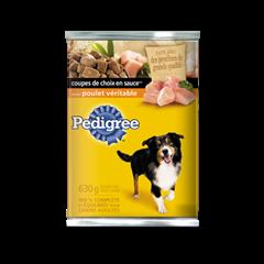 Nourriture humide pour chiens PEDIGREE<sup>MD</sup> COUPES DE CHOIX EN  SAUCE<sup>MD</sup> avec poulet véritable