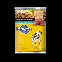 Nourriture humide pour chiens PEDIGREE<sup>MD</sup> COUPES DE CHOIX EN  SAUCE<sup>MD</sup> avec agneau véritable et légumes