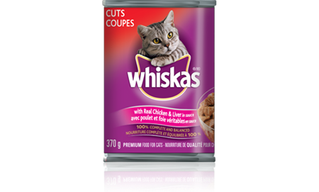 WHISKAS<sup>®</sup> CUTS<sup>®</sup> with Real Chicken and Liver in Sauce
