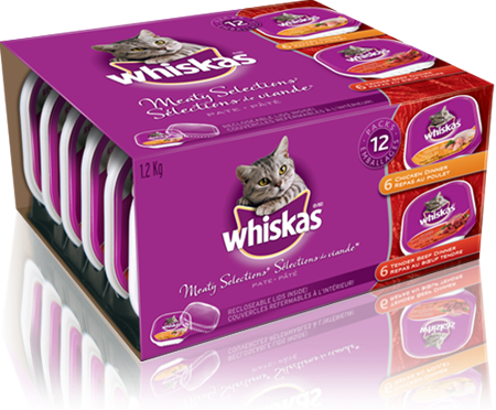 WHISKAS<sup>®</sup> Recloseable Tray MEATY SELECTIONS<sup>®</sup>