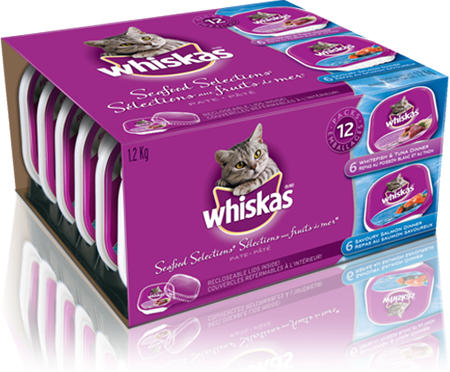 WHISKAS<sup>®</sup> Recloseable Tray SEAFOOD SELECTIONS<sup>®</sup>