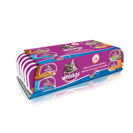 WHISKAS<sup>®</sup> 100g Variety Pack in Chicken & Liver, Chicken, Turkey & Giblets, Salmon Pate Entrées