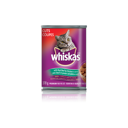 WHISKAS<sup>®</sup> CUTS<sup>®</sup> with Real Beef and Chicken in Sauce