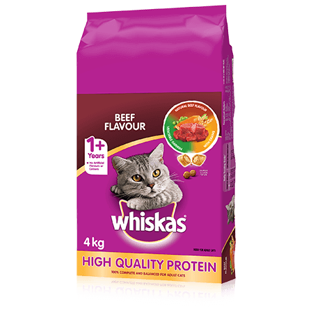 WHISKAS<sup>®</sup> Dry Cat Food Beef Flavour