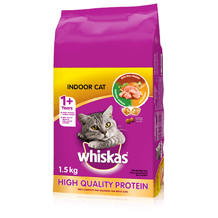 WHISKAS<sup>®</sup> Dry Cat Food Indoor With Real Chicken