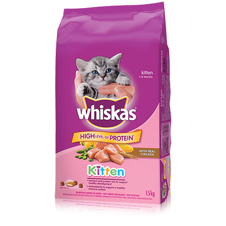 WHISKAS<sup>&reg;</sup> Dry Kitten Food With Real Chicken
