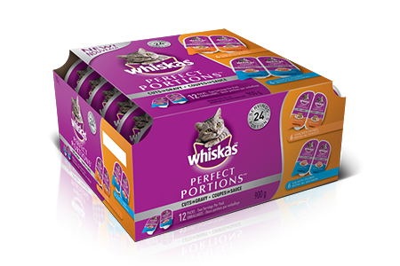 WHISKAS<sup>®</sup> PERFECT PORTIONS<sup>®</sup> Cuts in Gravy Chicken & Salmon Selections 12pk