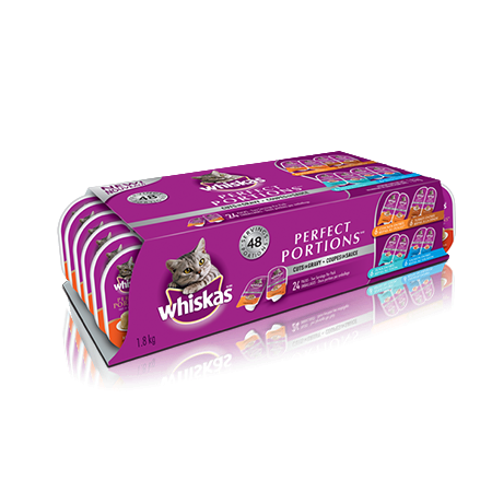 WHISKAS<sup>®</sup> PERFECT PORTIONS™ Cuts in Gravy Chicken, Turkey, Salmon & Tuna Selections 24pk