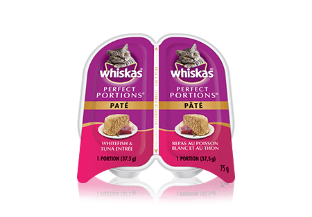 WHISKAS<sup>®</sup> Perfect Portions Whitefish & Tuna Pate Entrée