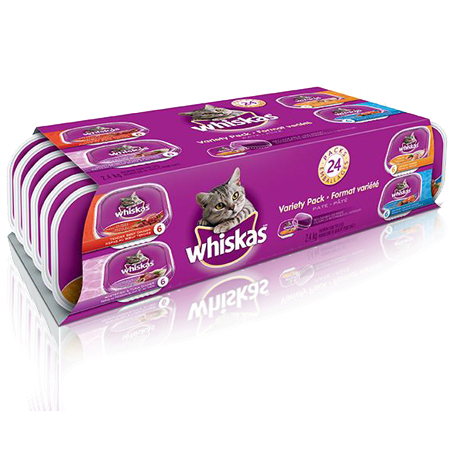 WHISKAS<sup>®</sup> Recloseable Tray 24 Variety Pack