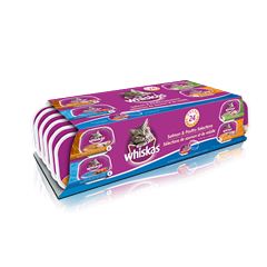 WHISKAS® 100g Variety Pack in Chicken & Liver, Chicken, Turkey & Giblets, Salmon Pate Entrées