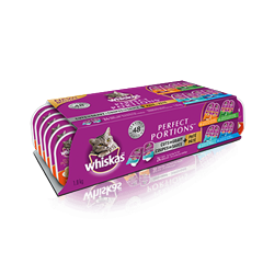 WHISKAS® PERFECT PORTIONS™ 24 Mix Pack in Tuna Cuts in Gravy, Salmon Cuts in Gravy, Chicken Pate,  Chicken & liver Pate