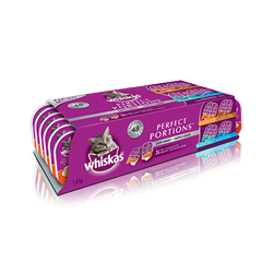 WHISKAS® PERFECT PORTIONS™ Cuts in Gravy Chicken, Turkey, Salmon & Tuna Selections 24pk