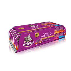WHISKAS® PERFECT PORTIONS™ Mix 24 Pack in Chicken Cuts in Gravy, Turkey Cuts in Gravy, Beef Pate, and Salmon Pate Entrées
