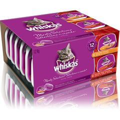 WHISKAS Recloseable Tray MEATY SELECTIONS