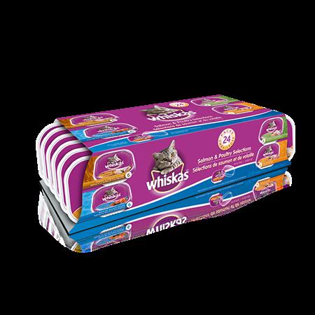Format variété de barquettes de 100 g de repas WHISKAS<sup>MD</sup> pâté : poulet et foie, poulet, dinde et abattis, saumon