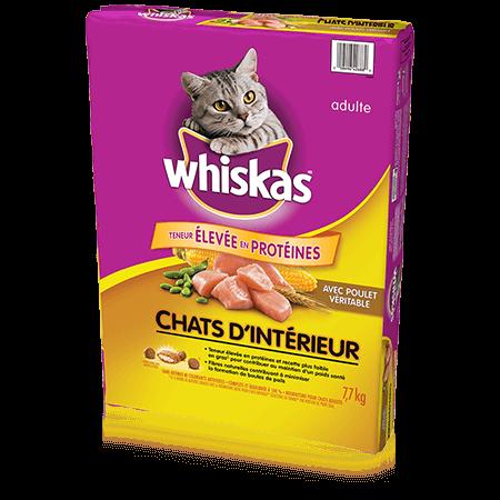 Nourriture sèche pour chats WHISKAS<sup>MD</sup> Chats d'intérieur avec poulet véritable, 7,7 kg