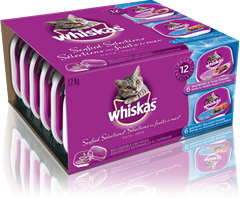 WHISKAS<sup>MD</sup> en barquette refermable SELECTIONS AUX FRUITS DE MER<sup>MD</sup>