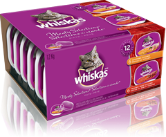 WHISKAS<sup>MD</sup> en barquette refermable SELECTIONS DE VIANDE<sup>MD</sup>