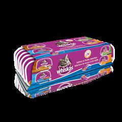 Format variété de barquettes de 100 g de repas WHISKASMD pâté : poulet et foie, poulet, dinde et abattis, saumon