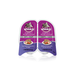 WHISKASMD PERFECT PORTIONSMC coupes en sauce repas au saumon et au poulet