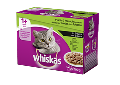 Whiskas<sup>®</sup> 1+ Sélection aux Viandes et Poissons en sauce