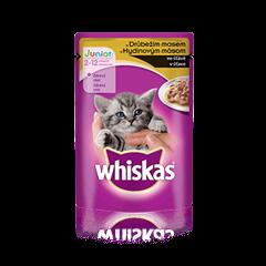 WHISKAS® kapsička Junior s drůbežím ve šťávě 100g
