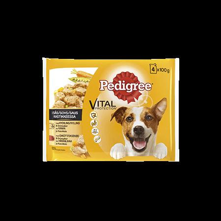 PEDIGREE® Adult 4x100g med Kylling & Grøntsager | Okse & Grøntsager i sovs
