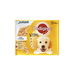 PEDIGREE® Junior kylling & okse i gelé 4x100g